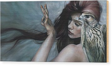 Wood Print featuring the painting Mudra by Ragen Mendenhall