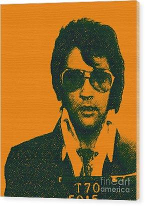 Mugshot Elvis Presley Wood Print