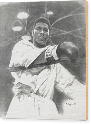 Wood Print featuring the drawing Young Cassius Clay by Noe Peralez