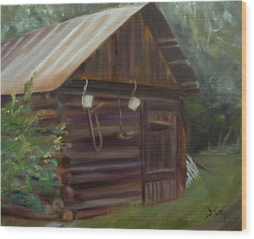 Wood Print featuring the painting Mulberry Farms Grainery by Donna Tuten