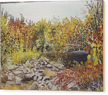 Mulberry River In Fall Another View Wood Print by Sharon  De Vore