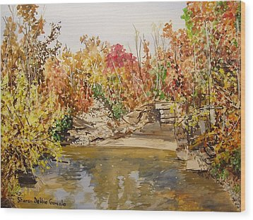 Mulberry River In Fall Wood Print by Sharon  De Vore