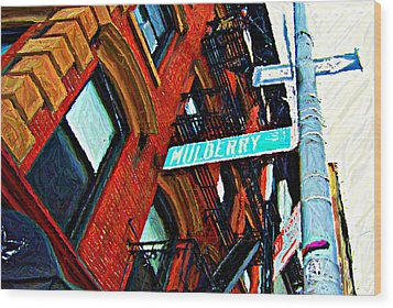 Mulberry Street Sketch Wood Print by Randy Aveille