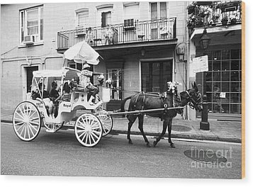 Mule And Buggy French Quarter New Orleans Wood Print by Thomas R Fletcher