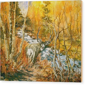 Mule Deer Bishop Creek Wood Print by Pat Crowther