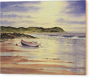 Wood Print featuring the painting Mull Of Kintyre Scotland by Bill Holkham