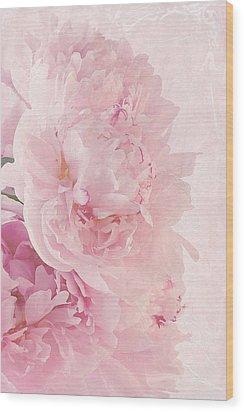 Artsy Pink Peonies Wood Print by Sandra Foster
