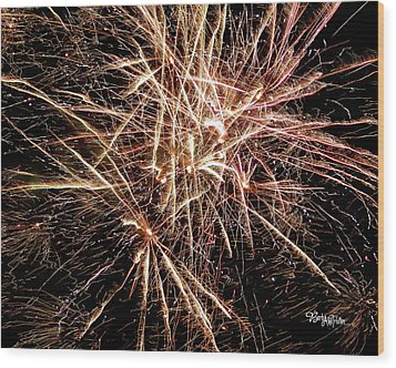 Wood Print featuring the photograph Multi Blast Fireworks #0721 by Barbara Tristan