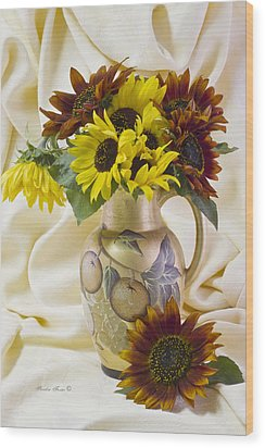 Multi Color Sunflowers Wood Print by Sandra Foster
