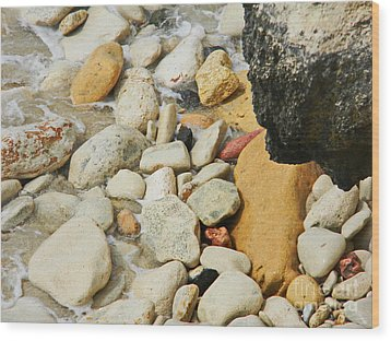 multi colored Beach rocks Wood Print