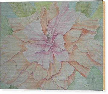 Multipetaled Pink Coral Hibiscus Wood Print by Hilda and Jose Garrancho