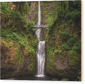 Multnomah Falls Wood Print by Martina Thompson