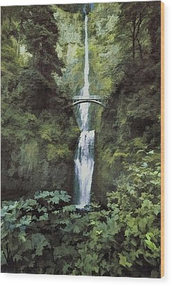 Wood Print featuring the photograph Multnomah Falls Painterly by Diane Schuster