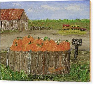 Mum And Pumpkin Harvest Wood Print