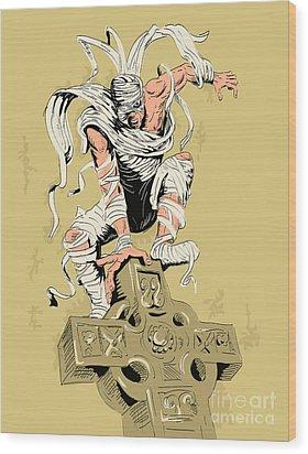 Mummy On Cross Wood Print by Aloysius Patrimonio