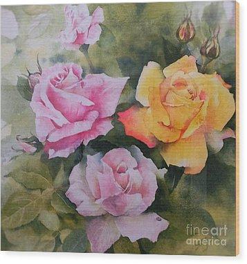 Mum's Roses Wood Print by Sandra Phryce-Jones