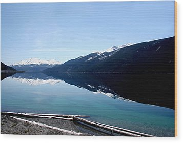 Muncho Lake Reflections Wood Print by Dave Clark