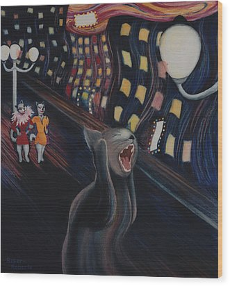 Munch's Cat--the Scream Wood Print by Eve Riser Roberts