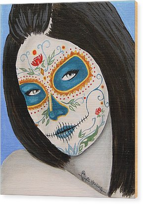 Muneca De Azul Wood Print by Al  Molina