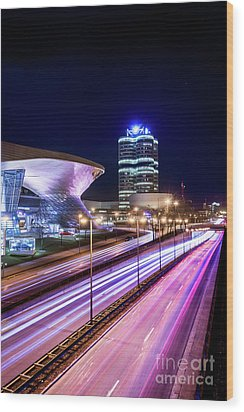 Wood Print featuring the pyrography Munich - Bmw City At Night by Hannes Cmarits