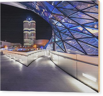 Wood Print featuring the pyrography Munich - Bwm Modern And Futuristic by Hannes Cmarits