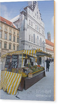 Munich Fruit Seller Wood Print