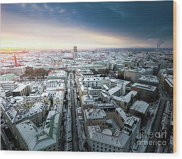 Wood Print featuring the photograph Munich - Sunrise At A Winter Day by Hannes Cmarits
