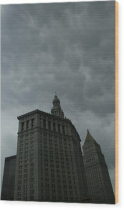Municipal Building In Storm Wood Print by Christopher Kirby