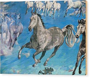 mural detail Equus Descending  Wood Print