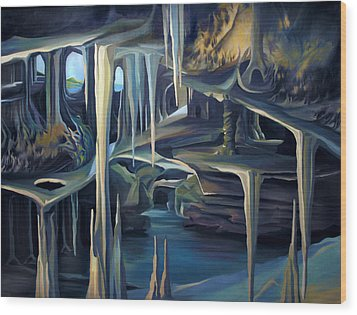 Wood Print featuring the painting Mural Ice Monks In November by Nancy Griswold