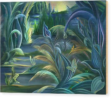 Wood Print featuring the painting Mural  Insects Of Enchanted Stream by Nancy Griswold