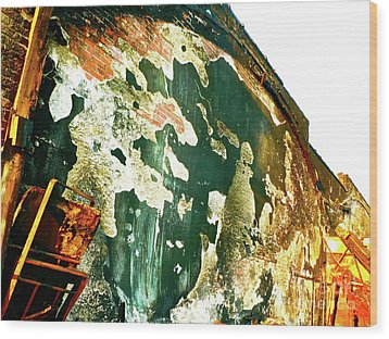 Mural Of Destruction Wood Print by Chuck Taylor