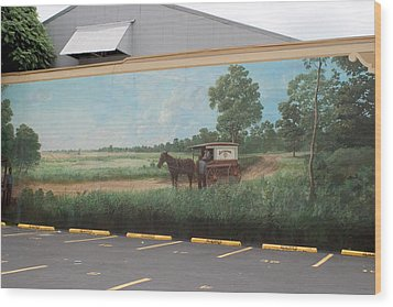 Mural Of Horse And Buggy In Arkansas Wood Print by Carl Purcell