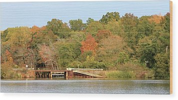 Wood Print featuring the photograph Murphy Mill Dam/bridge by Jerry Battle