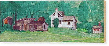 Murray Hill Watercolor Wood Print by Fred Jinkins