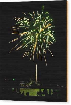Wood Print featuring the photograph Murrells Inlet Fireworks by Bill Barber