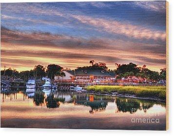 Murrells Inlet Sunset 3 Wood Print by Mel Steinhauer