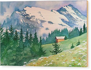 Murren Switzerland Wood Print by Scott Nelson