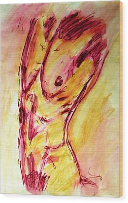 Muscled Male Nude Arched Back In A Classic Erotic Model Pose In Watercolor Purple And Yellow Sketch Wood Print