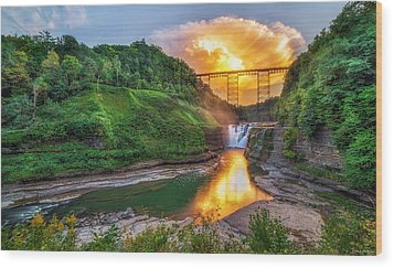 Mushroom Cloud Over Upper Falls Wood Print