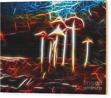 Mushroom Digital Art Wood Print by Kami McKeon