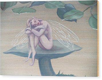 Mushroom Faerie Wood Print