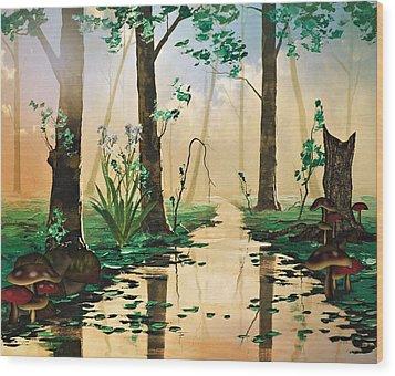 Mushroom Forest Wood Print