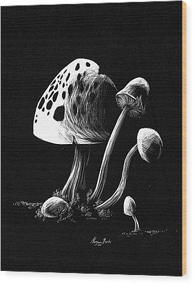 Mushroom Patch Wood Print by Morgan Banks