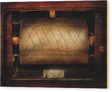 Music - Piano - Binary Code  Wood Print by Mike Savad
