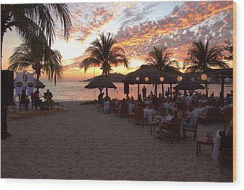 Wood Print featuring the photograph Music And Dining On The Beach by Jim Walls PhotoArtist