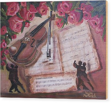 Music And Roses Wood Print by Vesna Martinjak