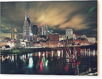 Music City Midnight Wood Print by Matt Helm