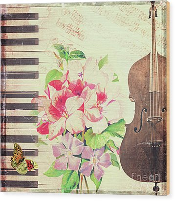 Music Wood Print by Delphimages Photo Creations