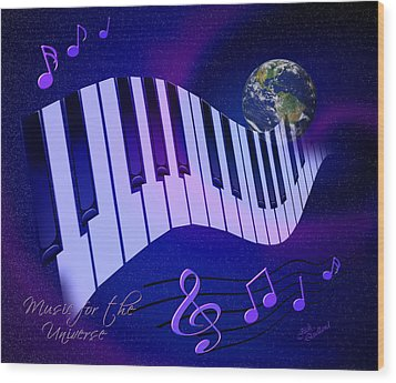 Music For The Universe Wood Print by Judi Quelland
